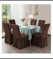 Coffee Color 6pcs Chair Cover