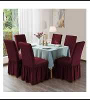 Maroon Color 6pcs Chair Cover
